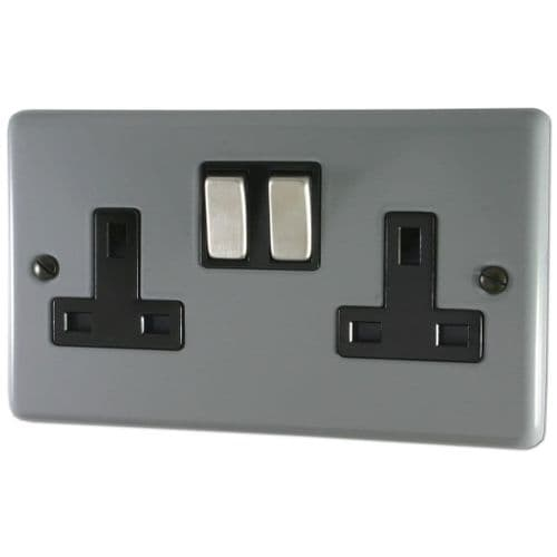 G&H CLG310 Standard Plate Light Grey 2 Gang Double 13A Switched Plug Socket